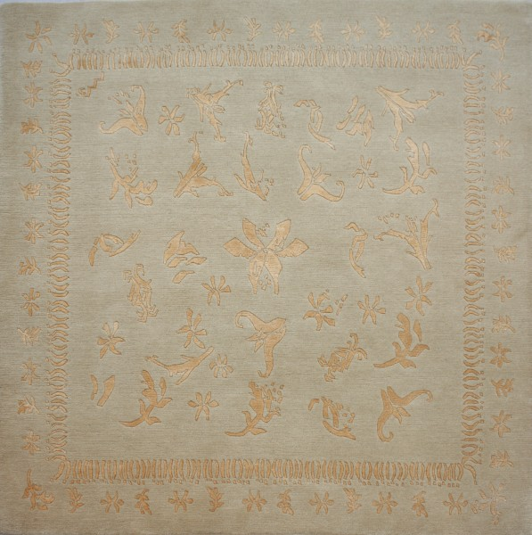 Carpet Zaubergerg, wool, silk, 150x150cm